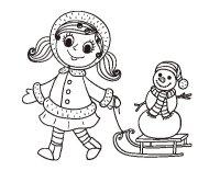 Disegno di Bambina con la slitta e il pupazzo di neve da ...