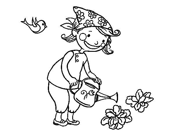Disegno Di Bambina Irrigazione Da Colorare