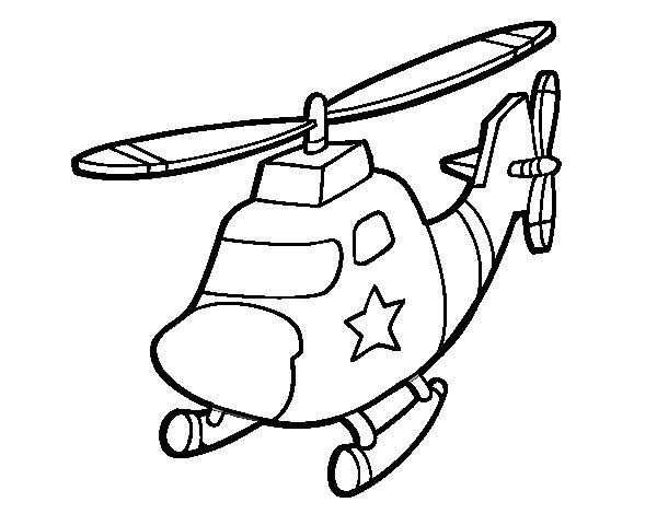 Disegno Di Elicottero Con Una Stella Da Colorare