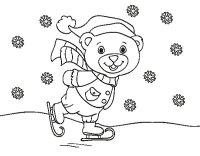 Disegno di Orsacchiotto pattinaggio di Natale da Colorare ...