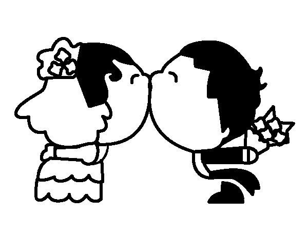 Disegno Di Sposi Bacio Da Colorare