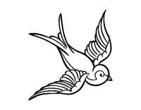 Disegno di Tatuaggio di uccello da Colorare