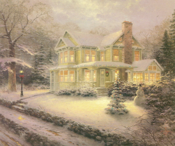 Christmas Falling Snow Wallpaper Note 3 History Of Art Thomas Kinkade