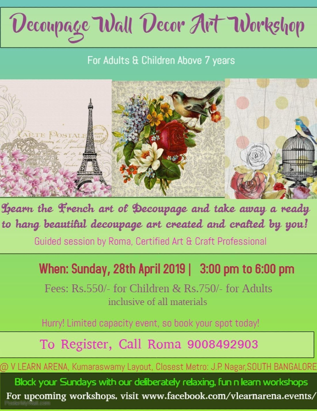 Arte Learn French Decoupage Wall Decor Art Workshop At V Learn Arena Bangalore