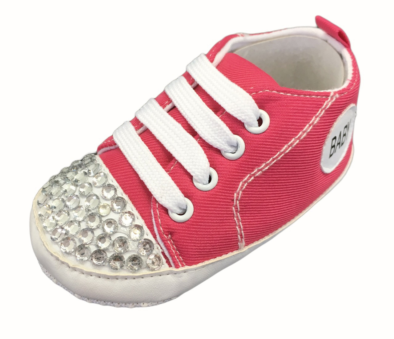 Infant Sneakers Hot Pink Baby Sneakers With Rhinestones