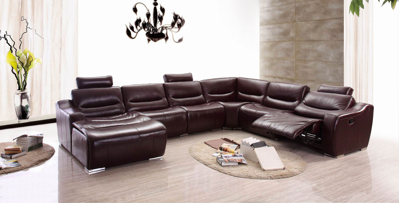 Modern Living Room Recliners Flr Modern Living 2144 Brown Leather Sectional W Recliner