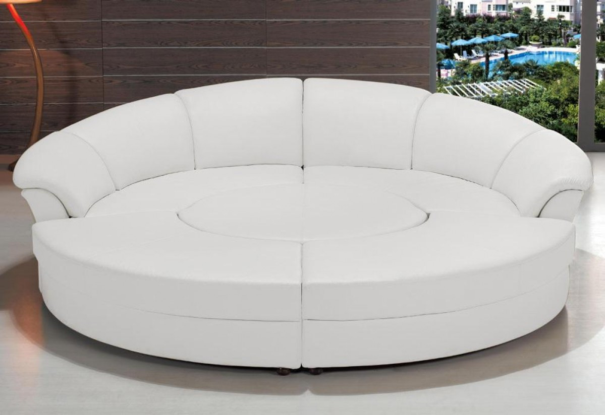 Sectional Bed Sofa Circle Modern Bonded Leather Circular Sectional 5 Piece Sofa Set