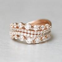CZ Elegant Rose Gold Wave Tiara Engagement Ring Set ...