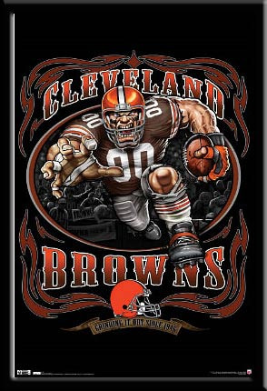 Baltimore Ravens 3d Wallpaper Cleveland Browns Nfl Mascot Poster Grinding It Out Framed
