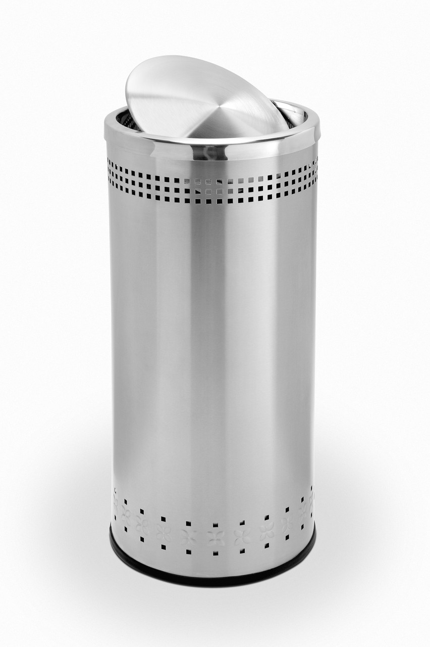 Metal Indoor Trash Can 25 Gallon Swivel Door Stainless Steel Trash Can Garbage Can 781429