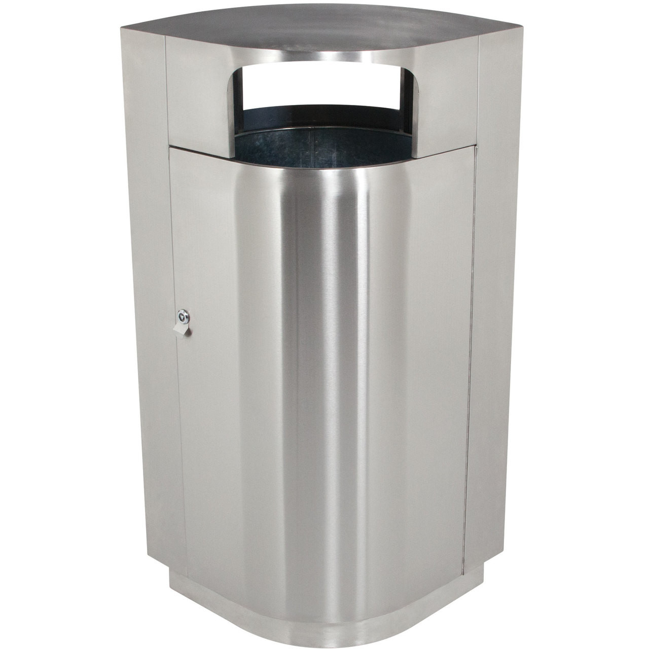 Cool Trash Bins 40 Gallon Leafview 2 Locking Stainless Steel Lockable Trash Can 782129