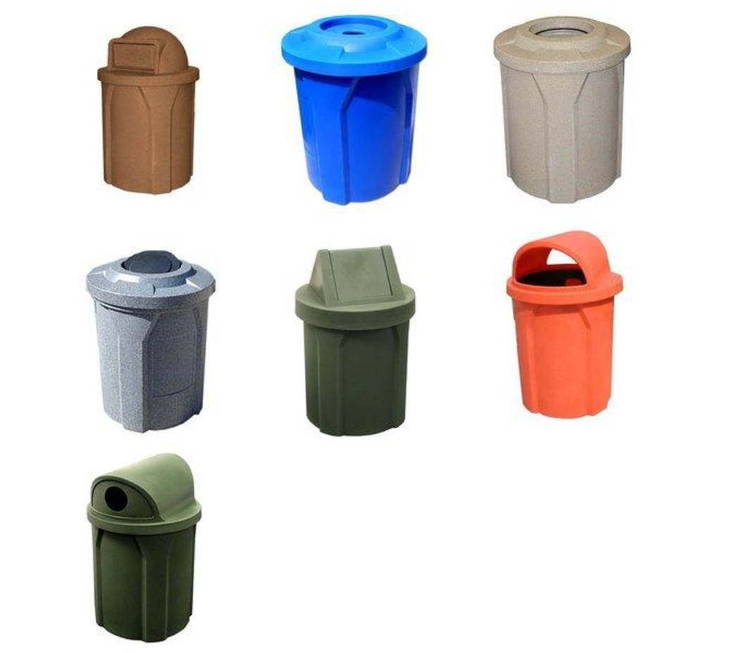 Colorful Garbage Cans 42 Gallon Kolor Can Indoor Outdoor Trash Receptacle S7101a 9 Lid Styles 11 Colors