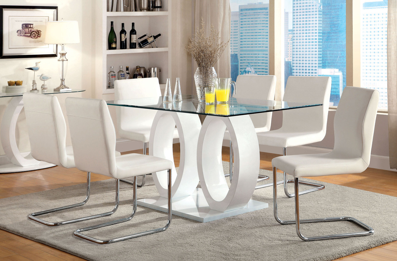 White Dining Table Set 63 Quot Glass Top Rectangular Dining Table Set Cm3825t