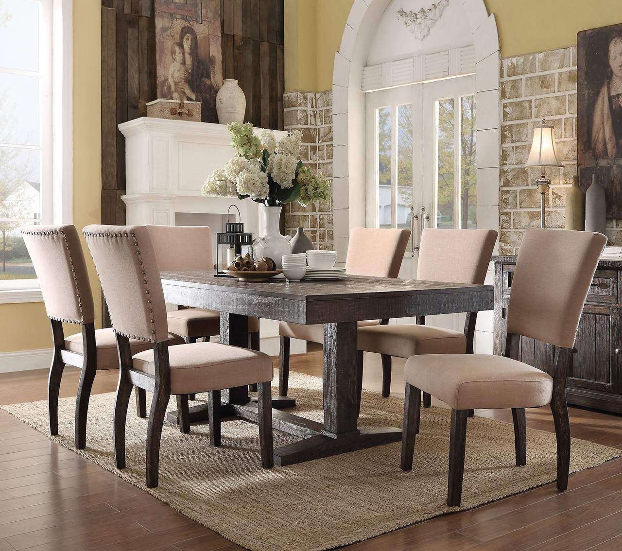 Lounche Dining Set Acme 71710 Salvaged Oak Dining Room Table Set
