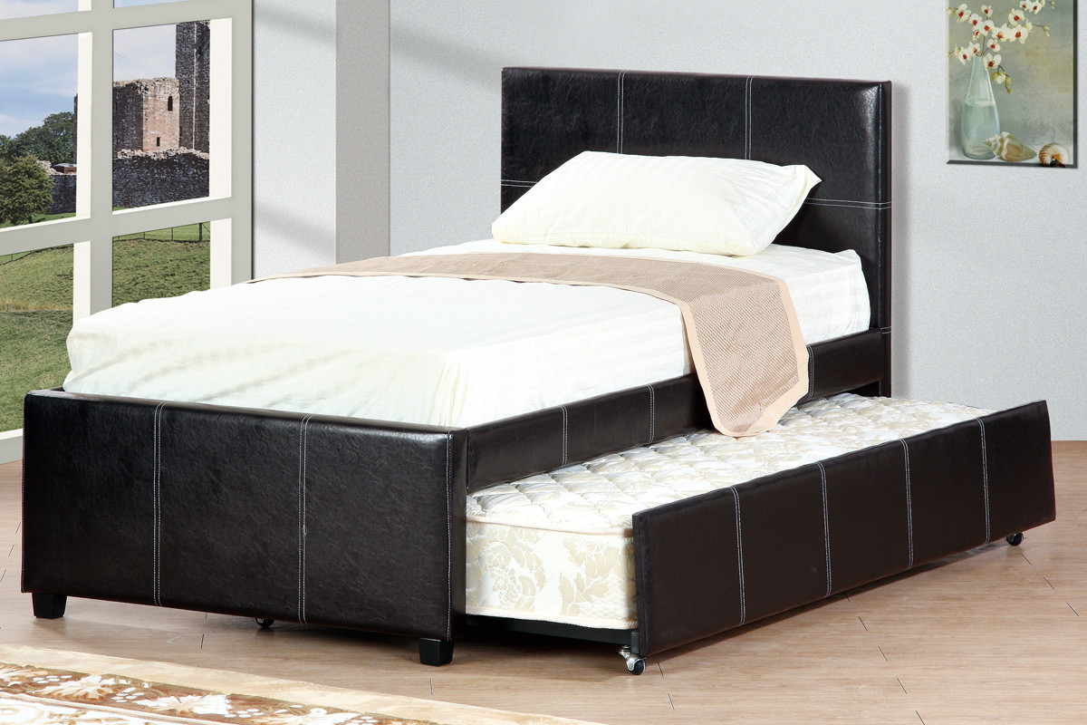Discount Trundle Beds Cyril Espresso Double Bed With Trundle