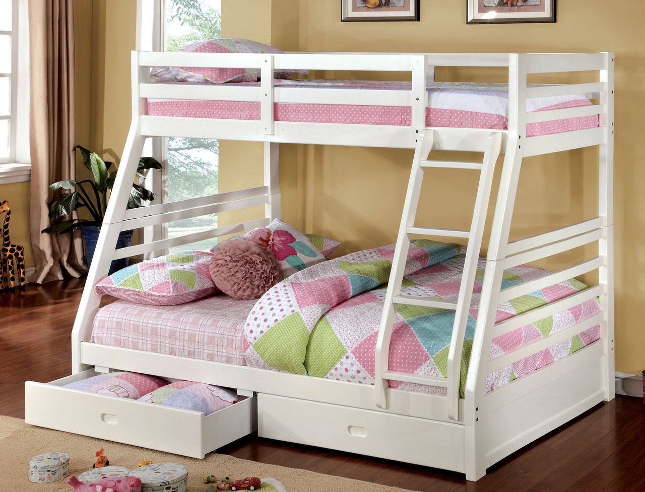 White Wooden Bunk Beds Makaio White Wood Twin Over Full Bunk Bed With Drawers For