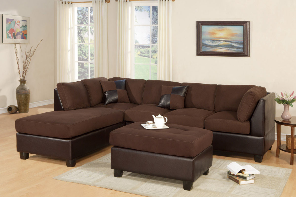 Microfiber Sectional Sofa Poundex Reversible 3 Pcs Microfiber Sectional Set