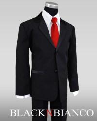 Black Tux Red Vest And Tie