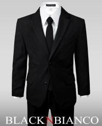 Boy's Solid Black Notch Lapel Suit w/ a Skinny Tie