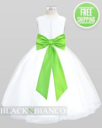 Vibrant Lime Green Sash Flower and Bow Flower Girl Dress