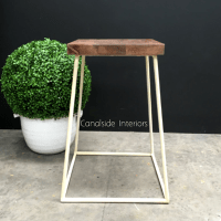 Minimalist Bar Stool - Distressed Off-White / Cream - IN ...