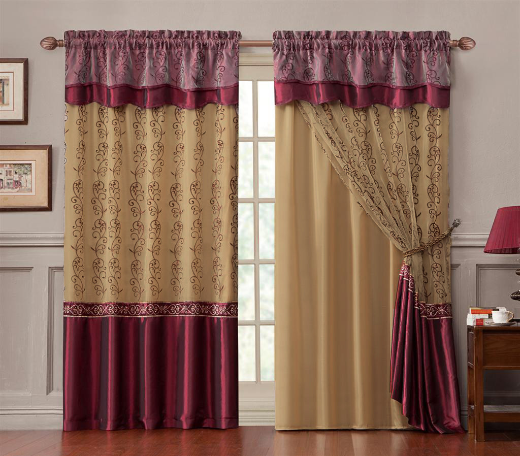 Curtain For Double Window Double Layer Window Curtain Drapery Panel Gold Back Panel With Burgundy Embroidered Sheer Front And Valance 55