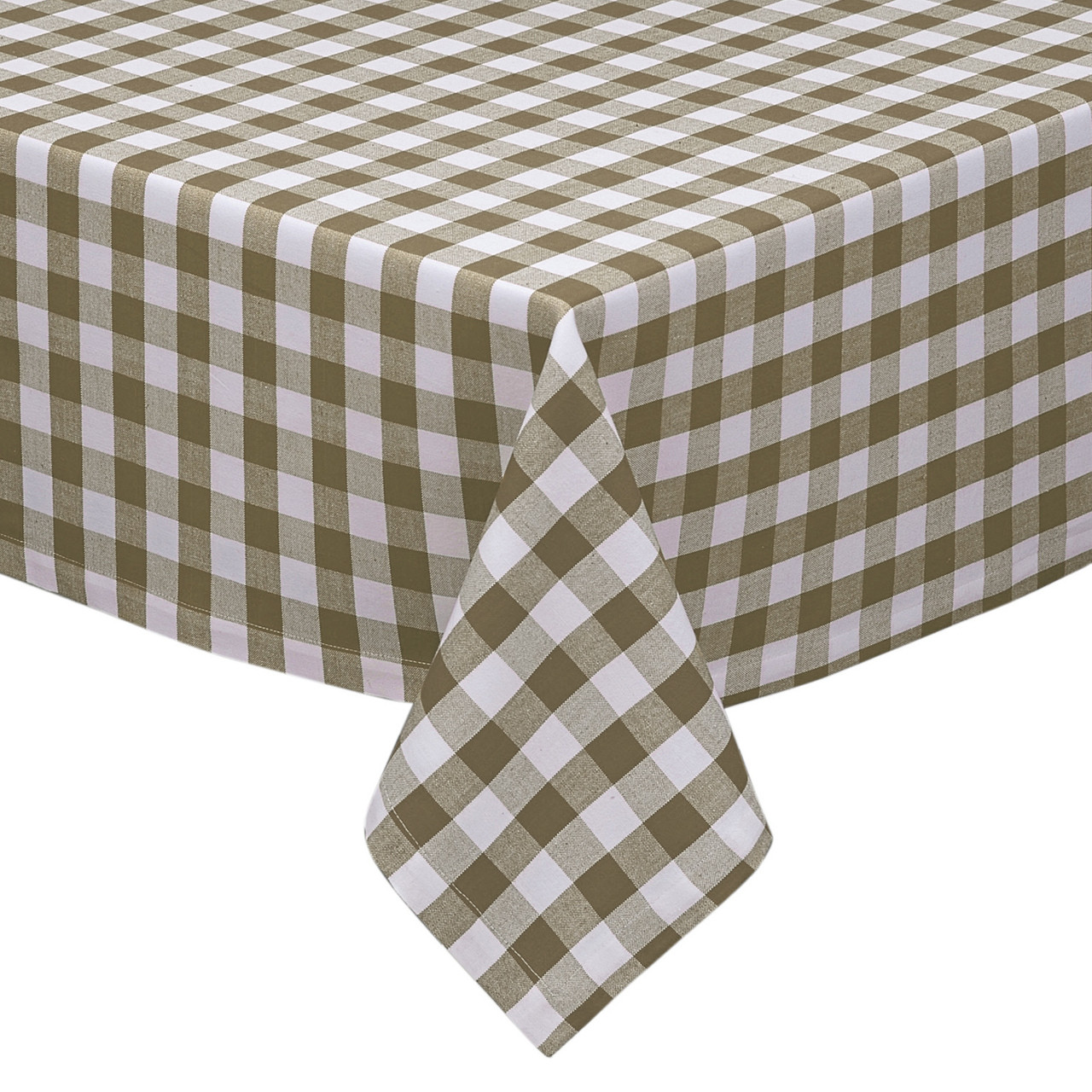 Plaid Taupe Taupe And White Checkered Kitchen Dining Room Tablecloth Gingham Plaid Design Cotton Rich 54
