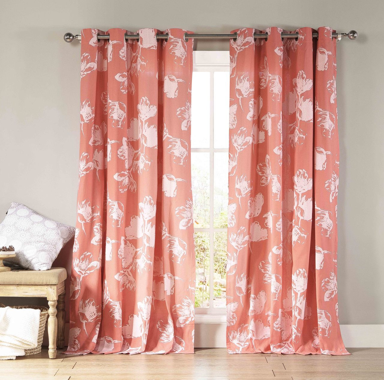 Cotton Curtain Panels Two Cotton Rich Grommet Window Curtain Panels Coral And White Floral Design 84 Long