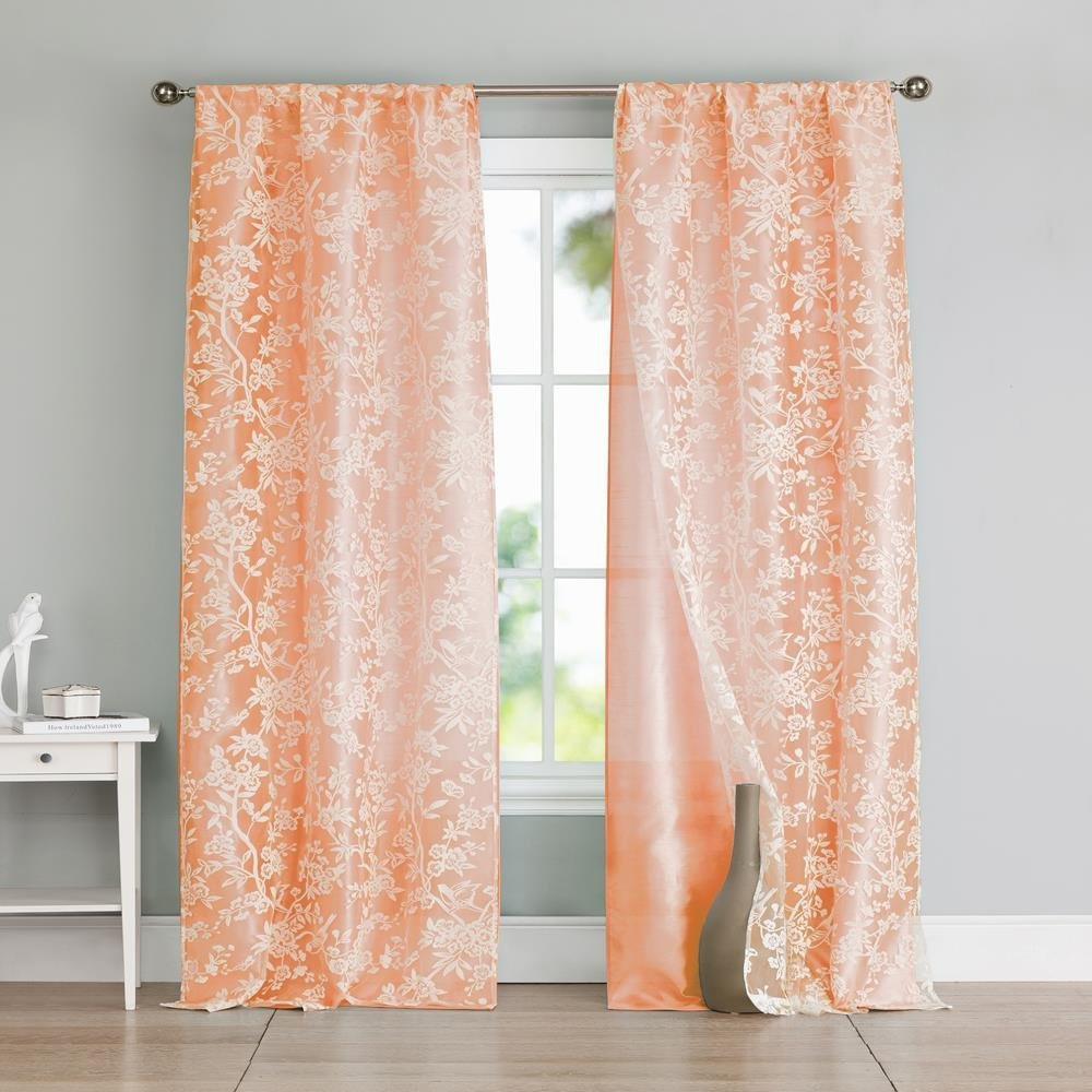 Cotton Curtain Panels Set Of Two 2 Peach And White Cotton Blend Window Curtain Panels Bird And Tree Branch Burnout Design Double Layer 84l