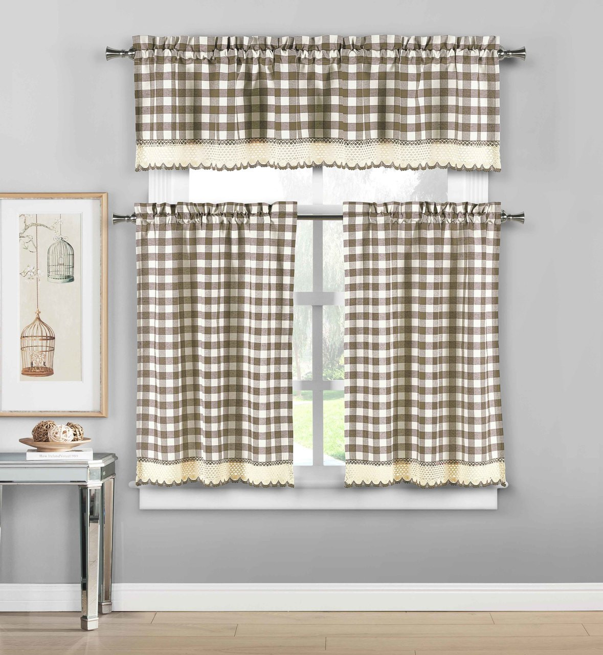 Plaid Taupe 3 Piece Plaid Checkered Gingham Kitchen Curtain Set 35 Cotton 1 Valance 2 Tier Panels With Crochet Accent Taupe