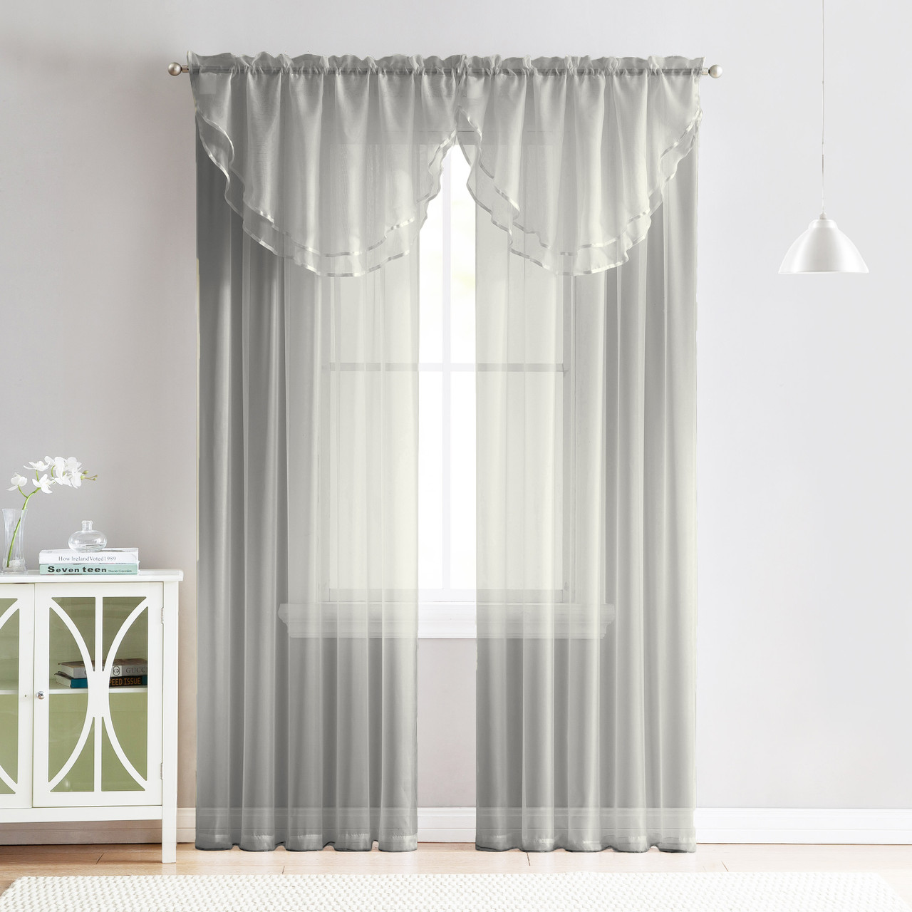 Curtains For Long Windows 4 Piece Sheer Window Curtain Set For Living Room Dining Room Bay Windows 2 Voile Valance Curtains And 2 Panels 84 In Long Silver