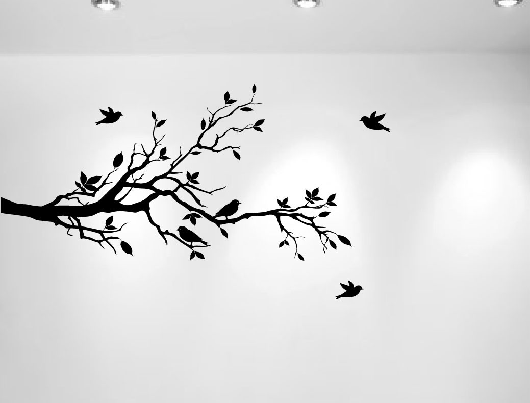 Birch Tree Fall Wallpaper Close Up Tree Branches Wall Decal Love Birds Vinyl Sticker Nursery