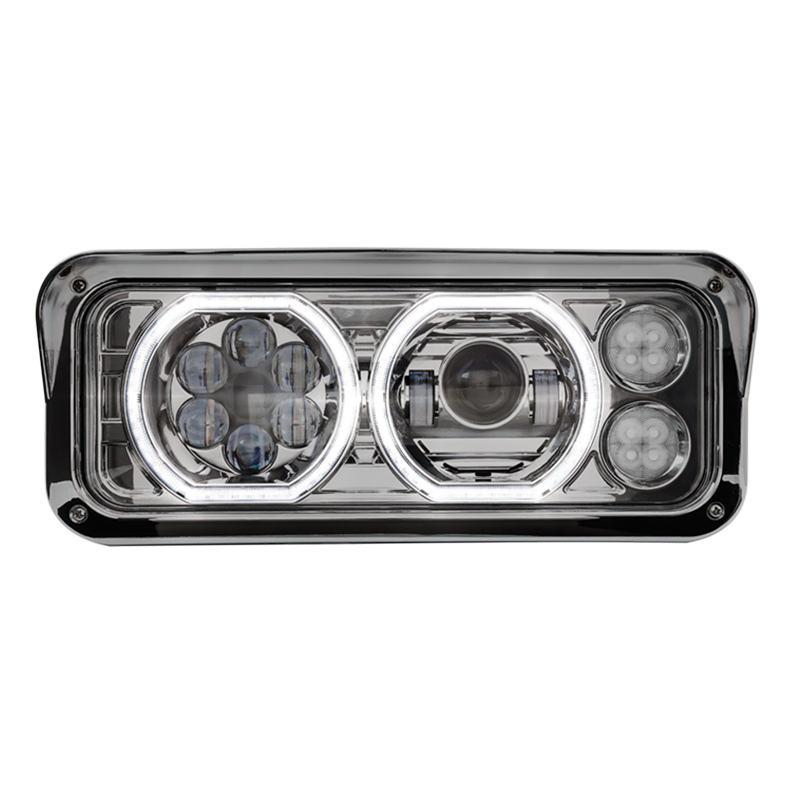 Western Star 4900 Chrome Projector Headlight Assembly With Halo LED