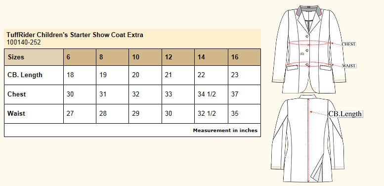 TuffRider childrens plus size horse show coat