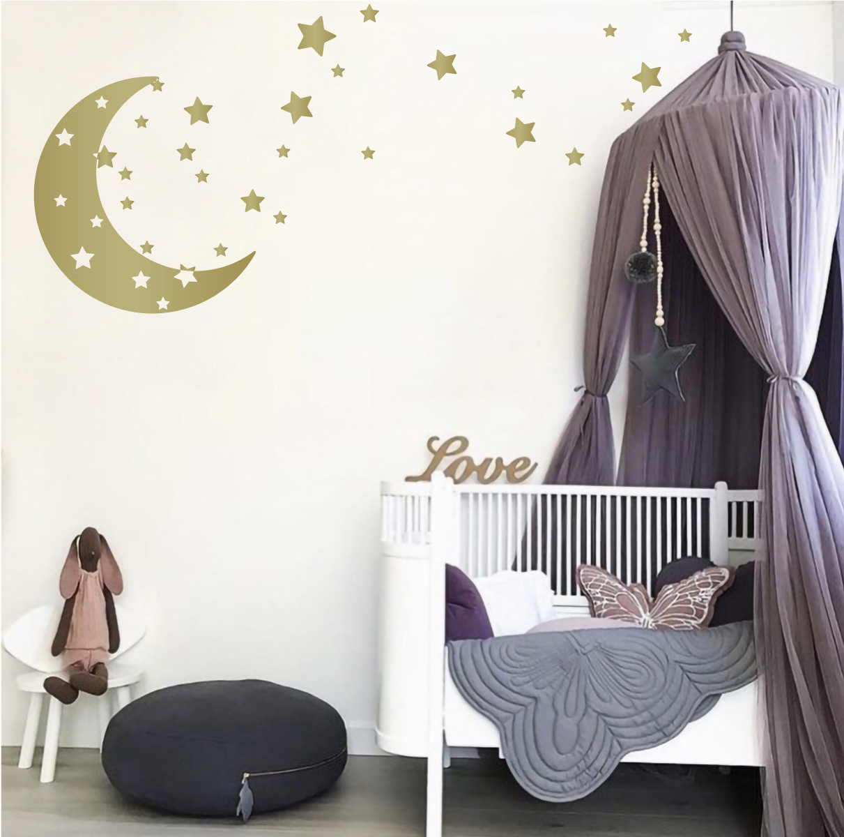Stars Room Decor Moon Stars Nursery Wall Decals Removable Wall Decor Stickers For Boys Or Girls Kids Room