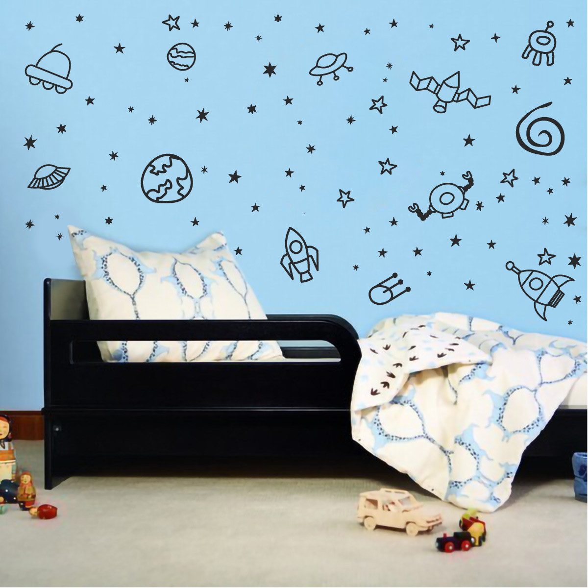 Boys Room Walls Outerspace Planet Galaxy Space Ship Stars Boys Room Vinyl Wall Decal Sticker