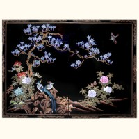 Chinese wooden wall panels in black lacquer with bird and ...