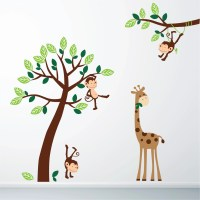 Monkey and Giraffe Jungle Wall Sticker 7001 - Stickers Wall