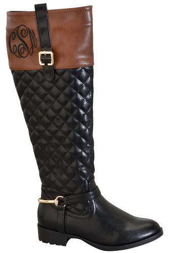 monogrammed robin quilted two tone riding boots