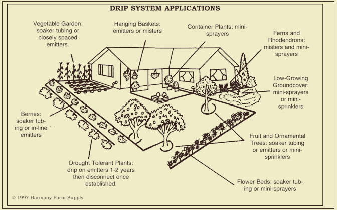 Drip Irrigation Design, Efficient Use of a Valuable Resource - garden irrigation design