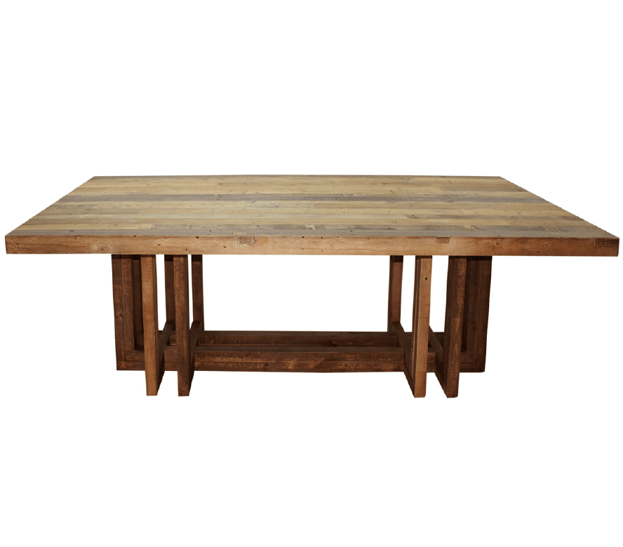 Angora dining table 95 quot modern reclaimed wood tables zin home