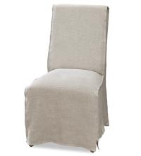 French Modern Slipcovered Long Skirt Dining Chair   Zin Home