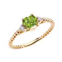 Peridot Solitaire Heart And White Topaz Yellow Gold Beaded ...