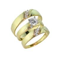 3-Piece Gold CZ Wedding Ring Set | Engagement Ring ...