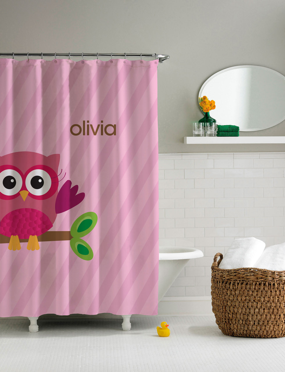 82 Shower Curtain Pink Owl Be Yours Shower Curtain