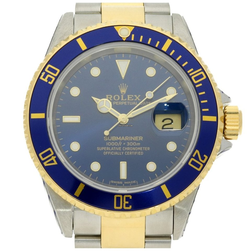 Rolex Second Hand Rolex Submariner 16613 Second Hand Mens Watch Blue 2000