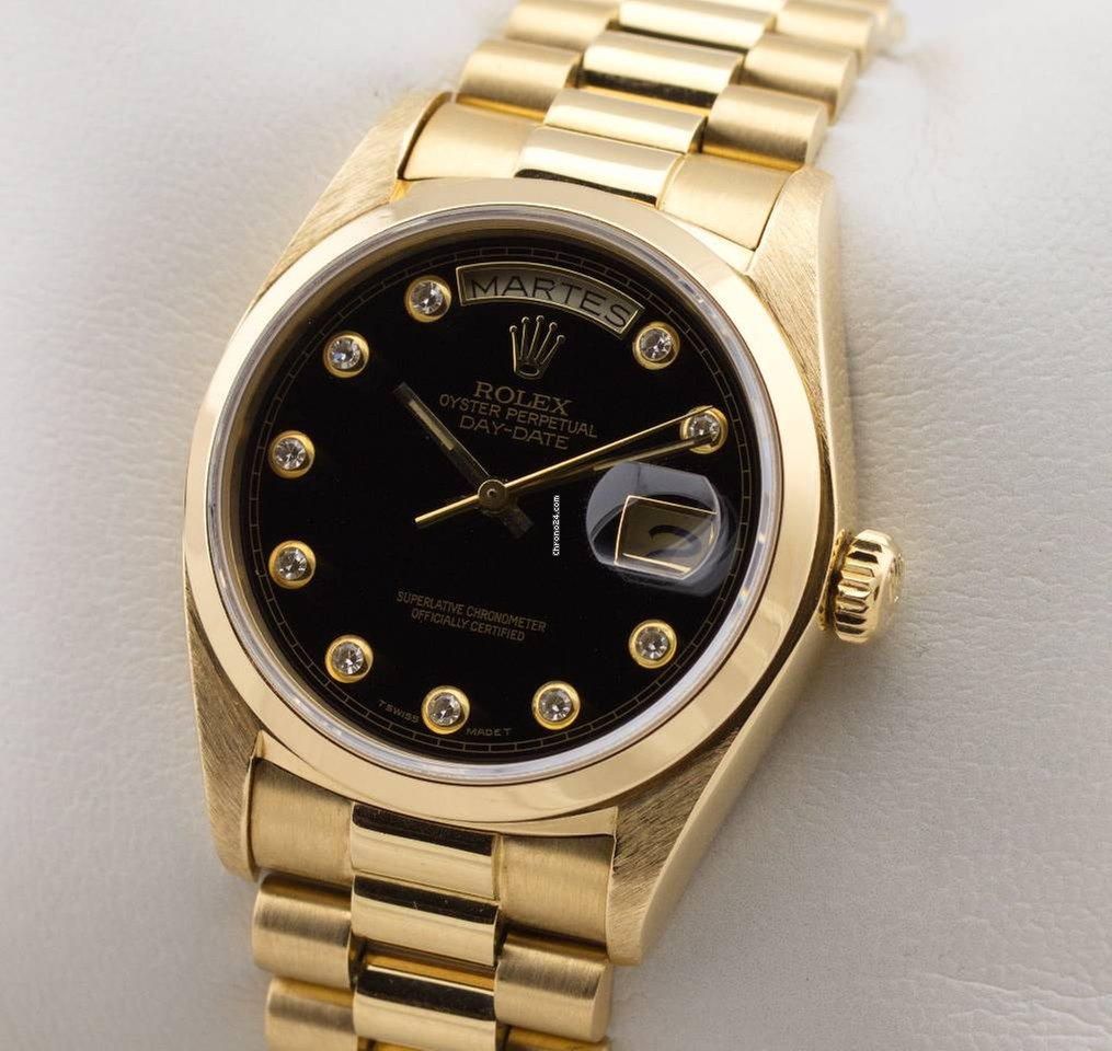 Rolexs Watches Rolex Day Date President Automatic 18k Gold Glatte Lünette Onyx