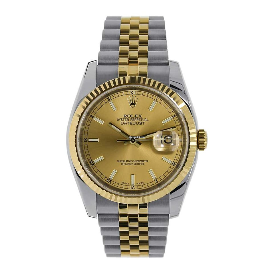 Steel Rolex Rolex Datejust 36mm Steel 18k Yellow Gold Champagne Index 116233