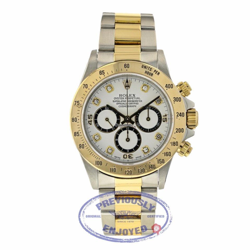 Steel Watch Rolex Daytona Zenith White Diamond Dial