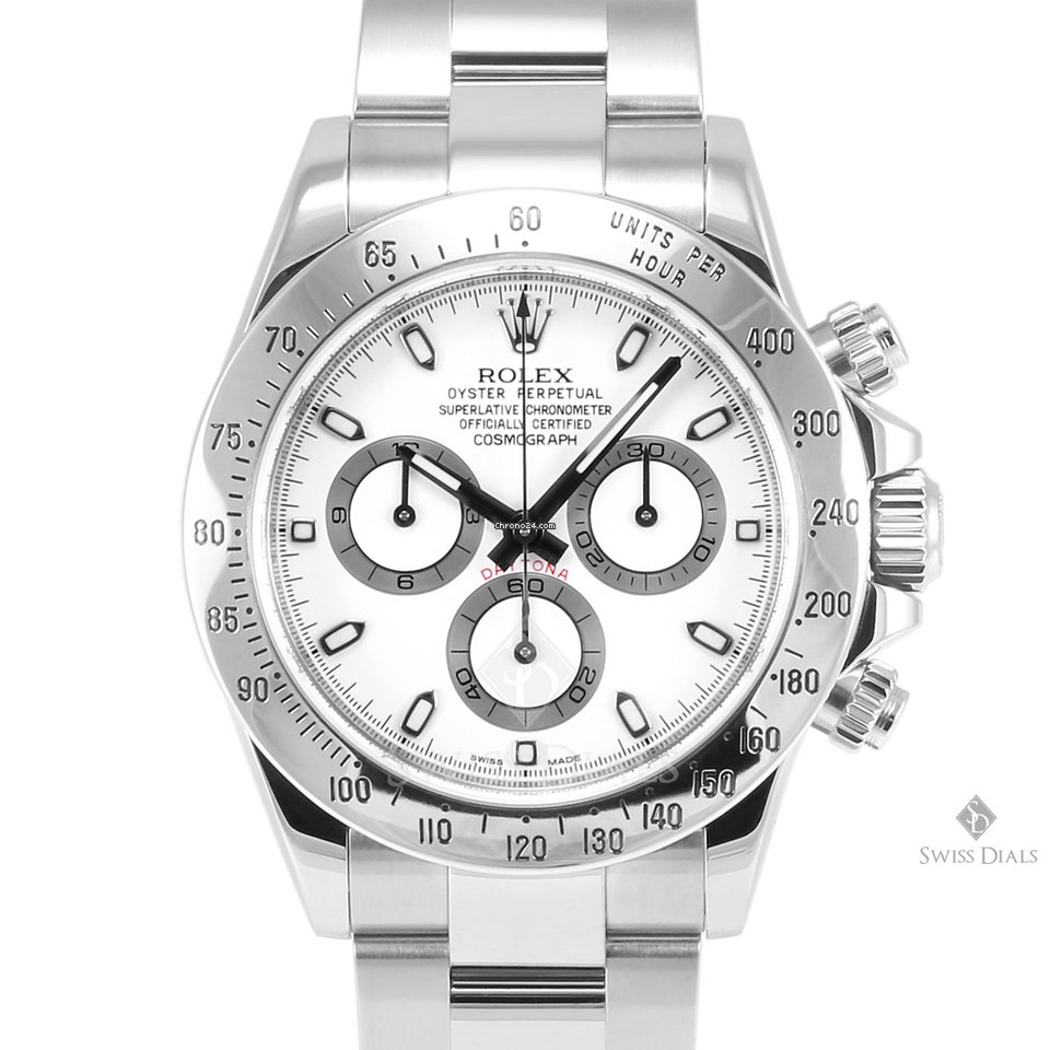 Stainless Rolex Rolex Daytona Stainless Steel White Dial Tachymeter Engraved Bezel Oyster Band New Style